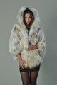 Golden island Fox Fur Cape Hooded