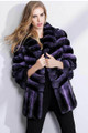 Purple Chinchilla Fur Coat Wide Bottom Sweep