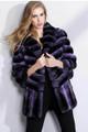 Purple Chinchilla Fur Coat Wide Bottom Sweep