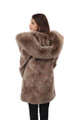 Light Brown Sheared Beaver Fur Coat Hooded with Fox Lining back view