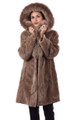 Light Brown Sheared Beaver Fur Coat Hooded with Fox Lining