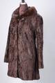 Brown Persian Lamb Fur Coat Mink Fur Collar Fit in Waist Sahar  left profile view