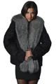 Black Persian Lamb Fur Jacket with Fox Collar Annette