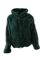 Men's Green Mink Fur Bomber Hooded  front view