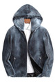 mens mink fur coat blue jean colored with hood and zipper