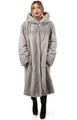 Long Sapphire Hooded Mink Fur Coat  on model