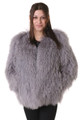 Sapphire Mongolian Lamb Fur Coat