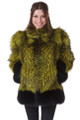 Retro Green Black Fox Fur Coat