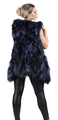 long  blue fox fur vest with hood