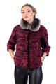purple Swakara Lamb Jacket & Chinchilla Collar