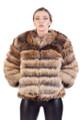 brown cross fox fur jacket on model