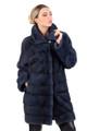 blue black mink fur coat knee length