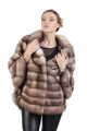sable fur coat with side slits and flare