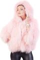 Pink  Mongolian Lamb Fur Coat Hood