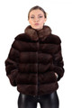 mahogany saga mink fur coat with sable fur collar