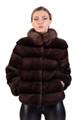 mahogany saga mink fur coat with sable fur collar