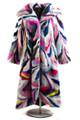 multicolor mink fur coat with hood full length