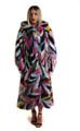 Multicolor Mink Fur Coat Hooded Full Length
