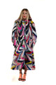 Multicolor Mink Fur Coat Hooded Full Length