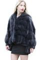 navy mink fur jacket hooded