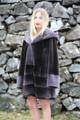 Navy Sheared Hooded Beaver Fur Coat