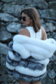 Silver White Hooded Fox Jacket