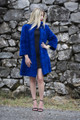 Blue Mink Fur Coat Knee Length Cropped Sleeves