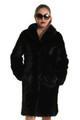black mink fur coat knee length with shawl collar sectional chevron pattern