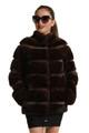 mahogany mink fur coat short collar