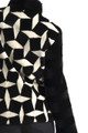 Black n' White Short Beaver Fur Jacket Stand up Collar
