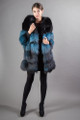 Blue Black Saga Fox Fur Coat 4/5 Sleeves