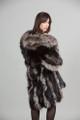 Black Silver Fox Fur Coat Shawl Fox Collar