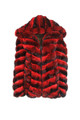 mens red chinchilla fur bomber jacket hooded with elsticized waist and cuffs