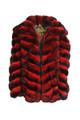 Mens Red Hooded  Chinchilla Bomber Fur Coat
