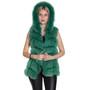 women's green fox fur vest with hood