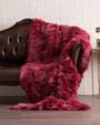 Burgundy Fox  Fur Fur Blanket Throw Cover