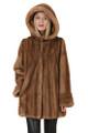 Brown Hooded Let out Mink Fur Coat