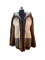 Men's Multicolor Hooded Mink Fur Coat
