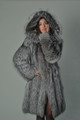 silver fox fur coat knee length hooded saga fully let out