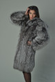 saga silver fox fur coat with hood let out on model profile view