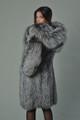 silver fox fur coat hooded long rear view