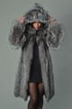 Silver Fox Fur Coat Hooded Knee Length