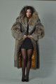 Full Length Crystal Fox Fur Coat Hooded