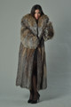 saga Full Length Crystal Fox Fur Coat with hood and shawl fox collar