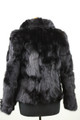 sectioanl Black Fox Fur Jacketwith plush hair rear view
