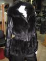 Black Fox Fur Jacket Hood leather sleeves and leather elastic waist sectional