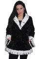 Sheared Black White Mink Fur Coat With Tapered Waist Shawl Collar Bell Bottom Sleeves Sectional