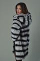 Chinchilla Rex Fur Coat Hooded Mid Hip Length