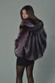 purple women's raccoon fur coat hood