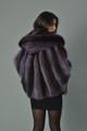 purple raccoon fur cape with hood